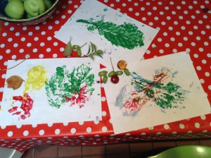 Leaf prints and collage