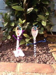 wooden spoon scarecrows